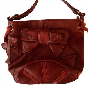 JESSICA SIMPSON Small Red Leather Bag Bow Detail